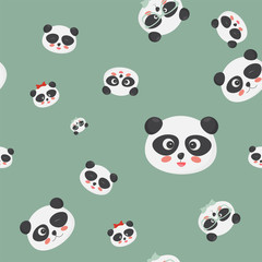 Vector seamless pattern: panda bear faces on a green background, panda faces with different emotions.