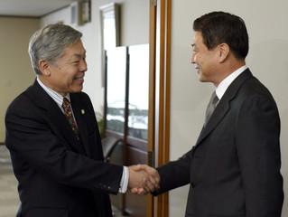 SOUTH KOREAN PRESIDENTIAL ENVOY YIM SUNG-JOON MEETS JAPANESE VICEFOREIGN MINISTER YUKIO TAKEUCHI IN TOKYO.