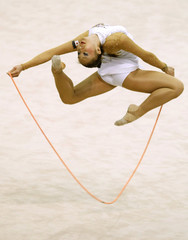 Mai Hidaka of Japan performs with the rope during the individual all-around competition final at the Rhythmic Gymnastics World Championships in Ise