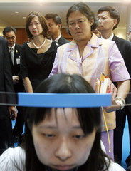 Thailand's Princess Sirindhorn watches demonstration of neuro-rehabilitation services offered by Tan Tock Seng Hospital in Singapore