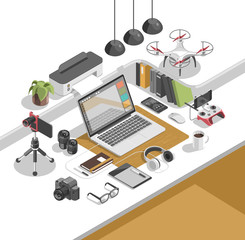 Flat isometric 3d workspace concept vector. Devices set on white background. Laptop, smart phone, tablet, desktop computer, glasses, cup, notebook, headphones, drone, fish eye lens, holder, camera.
