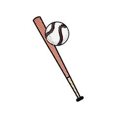 drawing bat and ball baseball sportive equipment vector illustration