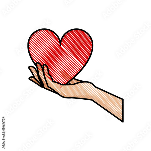Drawing Hand Holding Heart Blood Donation Symbol Vector Illustration
