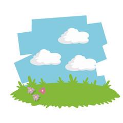 green meadow flowers garden sky cloud vector illustration