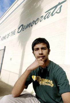 Jefferson High School student Preciado is pictured outside his school in Los Angeles