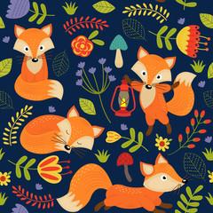 seamless pattern fox on purple background - vector illustration, eps