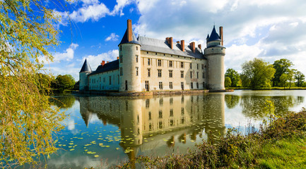 Romantic medieval castles of Loire valley - beautiful Le Plessis Bourre. France