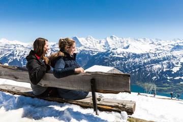 View from the Niederhorn Beatenber Mountain in Switzerland