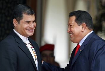 Venezuelan President Chavez welcomes Ecuador's President Correa for an ALBA Summit in Caracas