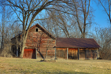 Old Red Barn in Winter Scene