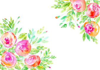 Floral frame.Garland of a roses branches.Watercolor hand drawn illustration.It can be used for greeting cards, posters, wedding cards.