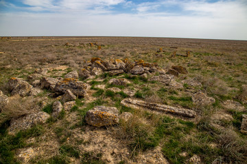Abandoned ancient Muslim necropolis in the Kazakhstan desert, city of the dead