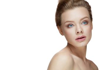 Beauty Face. Beautiful Female Model Posing On White Background