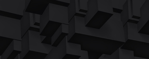 Volume black geometric construction, 3d cubes dark background, shapes, abstraction wallpaper, vector design for you project