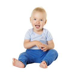 Baby over White Background, Happy Kid One Year old, Smiling Child Boy Sitting in Blue Clothing
