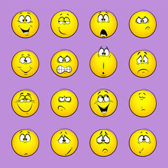Set of emoticons, emotion,  feelings, experience for icons