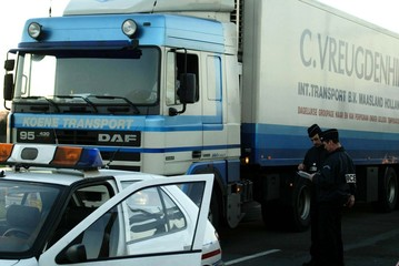 FRENCH POLICE CHECKS LORRIES AT THE ENTRANCE OF LESQUIN'S FREIGHTCENTER AHEAD OF TRUCKERS STRIKE.