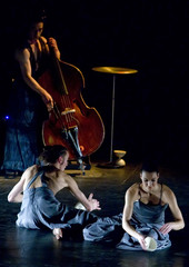 """Actors from French theatre company 'Le Circle' perform the play """"Tr'espace"""" during the """"Escena Abierta"""" theatre festival in Burgos"""