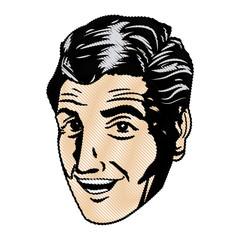 drawing face man pop art design vector illustration