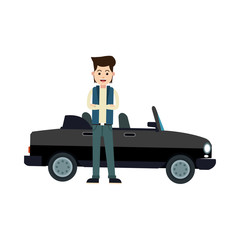 character young man sport car standing vector illustration