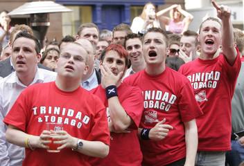 Soccer fans watch England v Trinidad world cup match in Edinburgh