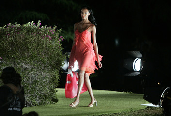 Model displays creation by U.S. fashion designer Von Furstenberg during a preview of her 2009 resort wear collection in Florence