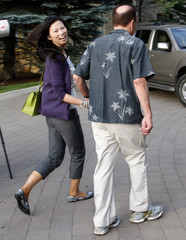 News Corp. chief Rupert Murdoch and his wife Wendy arrive for the first session of the Allen and Co. conference at the Sun Valley Resort in Sun Valley