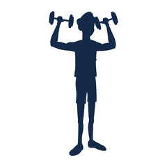 silhouette fitness man weight lifting workout vector illustration