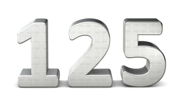 125 zahl silber 3d number silver struktur