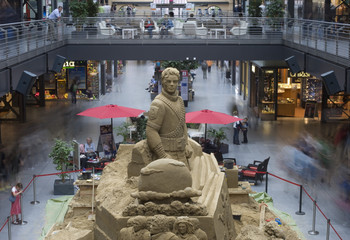 A sand sculpture of late U.S. pop icon Michael Jackson is seen in shopping mall in Berlin