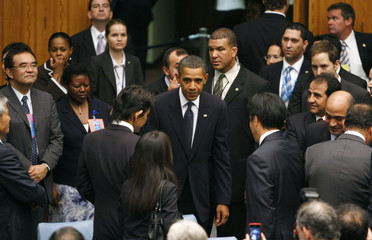 U.S. President Obama arrives for a Security Council Summit meeting during the United Nations General Assembly at U.N. headquarters in New York