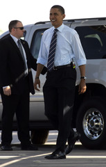 U.S. Democratic presidential candidate Obama arrives for a campaign visit to the Springs Preserve in Las Vegas