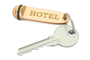 Hotel key closeup, 3D rendering