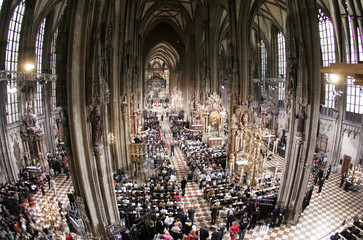 An overview of St. Stephens cathedral during a holy mass with Pope Benedict XVI in Vienna