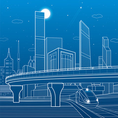 Automobile highway, infrastructure and transportation scene, train move, night city, towers and skyscrapers, airplane fly, urban illustration, vector design art
