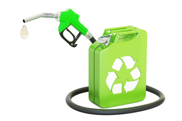 jerrycan with bio fuel and gas pump nozzle, 3D rendering
