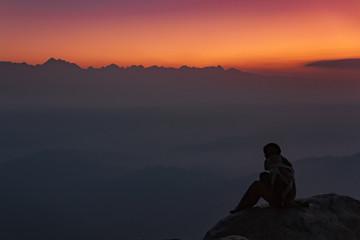 Zachód słońca w Nagarkot, Nepal