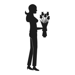 mother woman flower bouquet celebration pictogram vector illustration