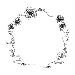 floral wreath flowers decoration line vector illustration