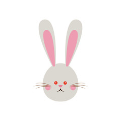 cute easter bunny face funny vector illustration