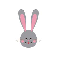 cute easter bunny gray face vector illustration