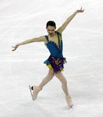 Cohen finishes in the women's short program during the Figure Skating competition at the Winter Olympic Games
