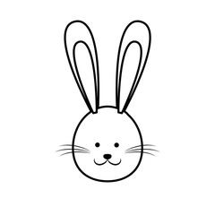 cute easter bunny face line vector illustration