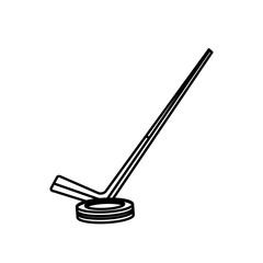 hockey stick and puck sport line vector illustration