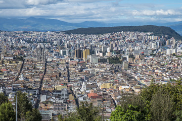 View of Historic Area of Quito Ecuador from Top of the Mountain