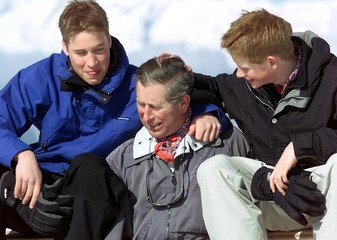 The Prince of Wales, Prince Charles (C) and his sons Prince William (L) and Prince Harry (R) have fu..