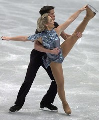 ELIANE HUGENTOBLER AND DANIEL HUGENTOBLER AT EUROPEAN FIGURE SKATING CHAMPIONSHIPS IN VIENNA.