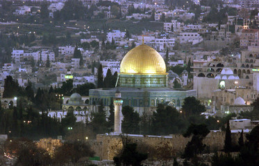 A file photo shows the view of Jerusalem and it's Old City with the golden Dome of the Rock and part..
