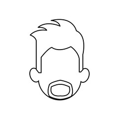 outline head man character person vector illustration