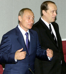 RUSSIAN PRESIDENT PUTIN AND CHAIRMAN OF RUSSIAN CENTRAL ELECTIONCOMMITTEE VESHNYAKOV REACT AT ...